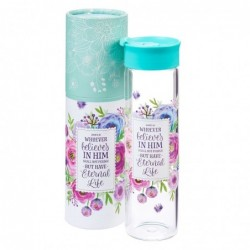 Floral Glass Water Bottle
